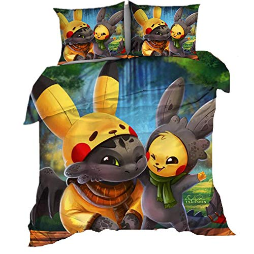 AmenSixye 3D Cartoon Printed Bedding Suit Pokemon Pikachu Quilt Cover Bed Spead Child Kid Bedroom Bed Duvet Cover Bedclothes,230x260cm(3pcs)
