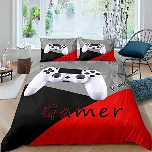 Gamepad - Juego de funda de edredón para videojuegos, juego de cama para niños y niñas, juego 3D, funda de edredón moderna para juego de cama, color rojo, negro, gris, tamaño individual, 2 unidades