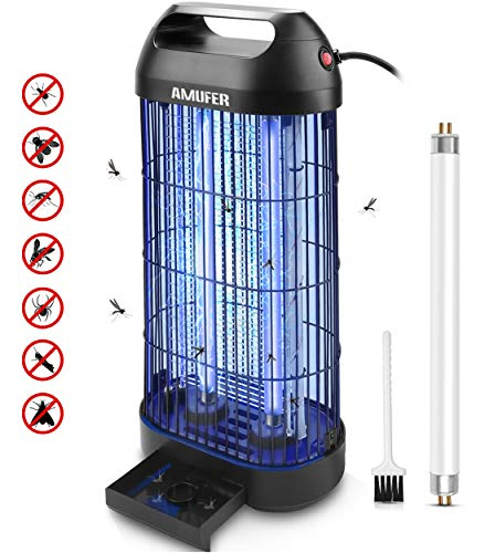 AMUFER Bug Zapper Electric Mosquito Killer/Zapper, Fly Trap Indoor Powerful Insect Killer Fly Zapper with Mosquito Lamp for Indoor Home Office,1-Pack Replacement Bulb Included