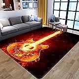 Alfombra,Nordic Modern 3D Flame Print Alfombra De Área De Guitarra Musical Alfombra Peluda para Sala De Estar Dormitorio Alfombra De Juego Grande Y Esponjosa para Niños para Decoración De