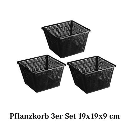 TEICHWERK Pflanzkorb 3er Set Pflanzhilfe Wasserpflanzen verschiedene größen 3 x 19 x 19 x 9 cm