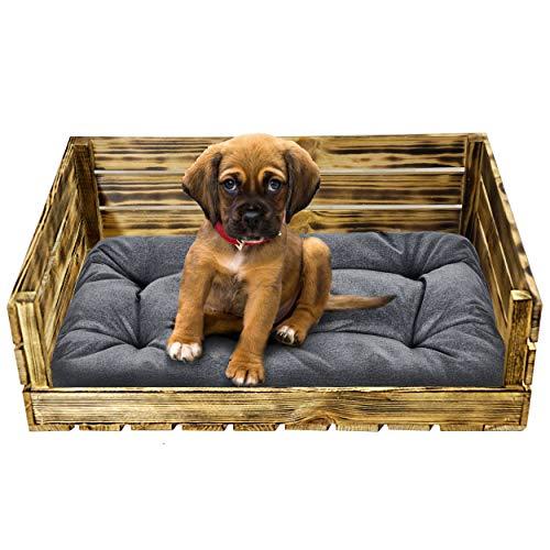 Superkissen24. Hundebett Hundekorb Tierbett Katzenbett mit Holzkiste für Kleine, Mittlere und Grosse Hunde - Waschbar - Größe M - Schwarz und Grau