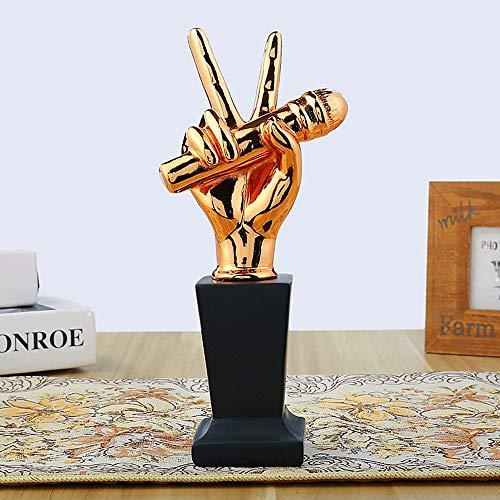 Baojintao Trofeo de Resina de música Trofeo de Buena Voz de Resina, Trofeo de micrófono Dorado, Concurso de Canto Regalos para Fans Coleccionables de Arte,Brass