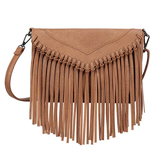 HDE Women's PU Leather Hobo Fringe Crossbody Tassel Purse Vintage Small Handbag