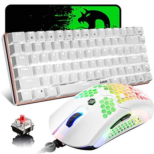 Juego de teclado para juegos con cable, juego 3 en 1, interruptor rojo retroiluminado LED blanco con 82 teclas, teclado mecánico , 12000DPI con cable 65G ligero USB Mouse con 26 RGB retroiluminado