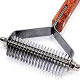 PawsPamper Undercoat Rake for Dogs & Cats - Pain Free Deshedding Brush + Quick & Easy Dematting Tool