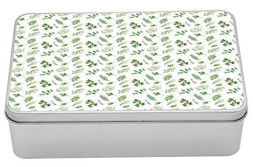 Lunarable Botanical Metal Box, Watercolor Herbs Spices Plain Background, Multi-Purpose Rectangular Tin Box Container with Lid, 7.2' X 4.7' X 2.2', Pistachio Green Pale Lilac Olive Green Fern Green