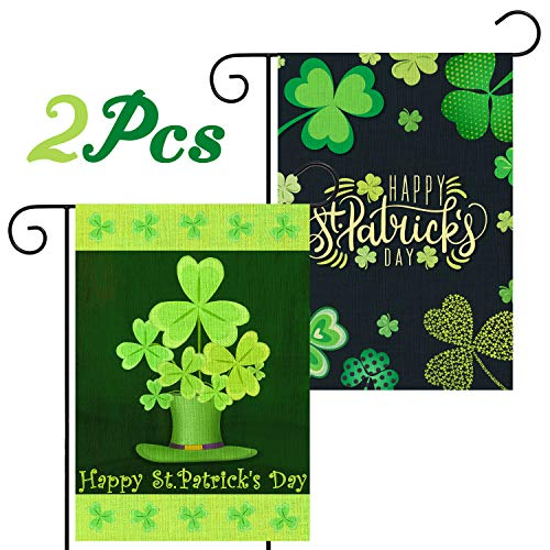 WATINC 2Pcs Happy St. Patrick's Day Garden Flag Burlap Double Sided Clover House Flags Shamrock Indoor Home Flag with Green Hat Pattern Outdoor Three Leaves Decor Flag for Celebration 18.2 x 12.4 In
