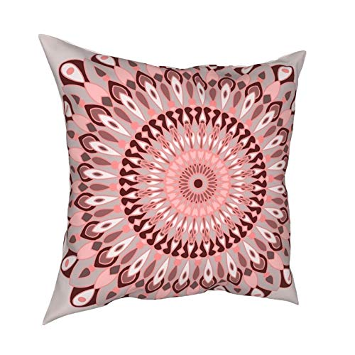 Pink And Grey Mandala Pillow covers Throw pillowcase Decorative Cushion Cover for Sofa Bedroom Living Room 18x18 inch