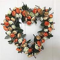 PRAMY造花ハート型のバラの花輪春の花輪屋外玄関の壁の窓のパーティーの結婚式の装飾、オレンジ色のハート型のバラの花輪