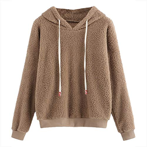 FSDFASS Bluzka moda damska bluza jednolity puszysty sznurek khaki bluzy z kapturem długi rękaw bluza z kapturem pulower topy, khaki, S