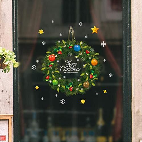 iBoosila 1 pezzo Ghirlanda natalizia Adesivi murali Vetrofanie Festival Festival Adesivi murali Babbo Natale Decorazioni natalizie-Adesivi per finestre Decorazioni vetrate natalizie Adesivi generous