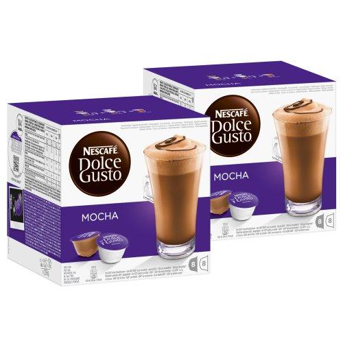 Nescafé Dolce Gusto Mocha, Mokka, Schokolade, Kaffee, Kaffeekapsel, 2er Pack, 2 x 16 Kapseln (16 Portionen)