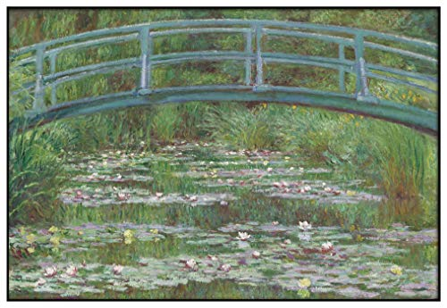 Panorama Metacrilato Enmarcado Claude Monet El Puente Japonés 100x70 cm - Impreso en Metacrilato de 3mm con Marco- Cuadros para Salón - Cuadro de Pared - Cuadro con Marco - Cuadros Modernos