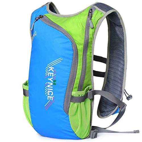 超軽量 KEYNICE ランニングバッグ マラソンリュック デイパック 防水 光反射 5Lハイドレーション収納可 通気 アウトドア 登山 レース 遠足 リュックサック 8L (ブルー)
