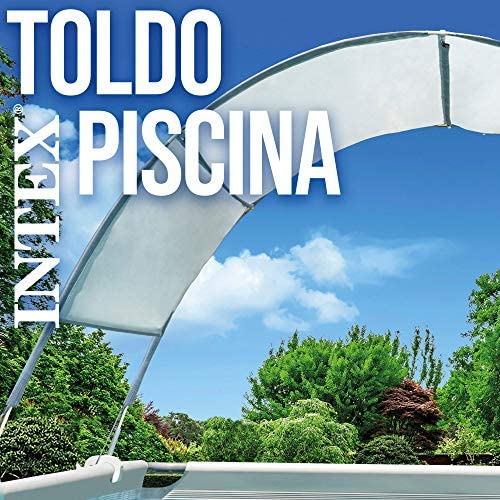 Intex 28054 - Toldo solar piscina, INTEX, para piscinas desmontables, largo 180 cm, con protección UV+50, tejido impermeable, Fácil de instalar, Metal Frame, XRT Frame 7