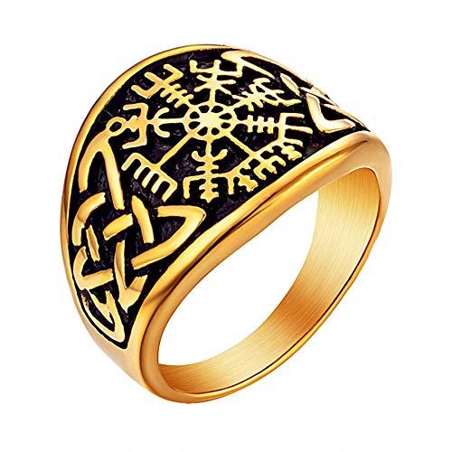 Anillo celta de color dorado para hombre, anillo de runa de motorista punk de acero inoxidable para hombre, joyería de fiesta para mujer, 11 oro