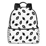 College School Backpacks,Monochrome Pattern with Black Rugby Balls American Culture Sports Play,Casual Hiking Travel Daypack