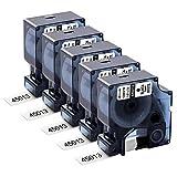 Aken Cinta de repuesto compatible para Dymo D1 45013 (s0720530), 12 mm, negro sobre blanco, para Dymo LabelManager 160 210D 360D 280 420P, 12 mm x 7 m, 5 unidades