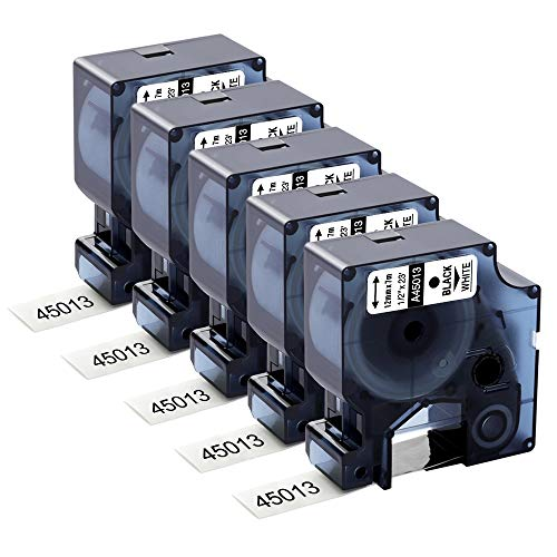Aken kompatibel Schriftband als Ersatz für Dymo D1 45013 (s0720530) 12mm Schwarz auf weiß Etikettenband für Dymo LabelManager 160 210D 360D 280 420P, 12mm x 7m, 5er-Pack