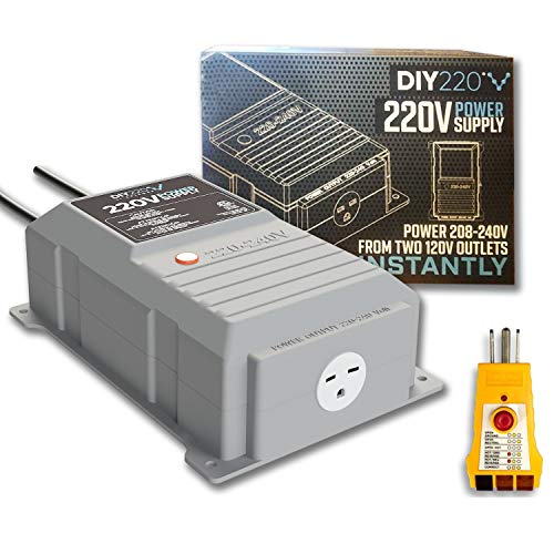 DIY220 Quick Connect 220V Power Supply, Power 208-240 Volts from Two Separate 110/120V AC Circuits, 220V 15A AC Output Outlet, GFCI Outlet Circuit Tester Included – ETL Certified Under UL and CSA Std