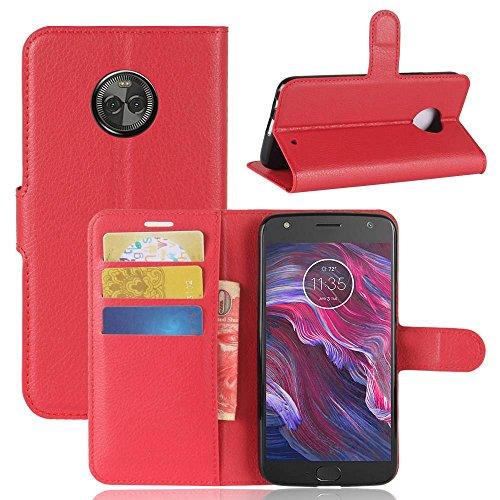 pinlu® Custodia in Pelle PU per Motorola Moto X4 Struttura della Pelle Custodia a Portafoglio di Alta qualità in Pelle Stile Aziendale con Slot per Stand Funzionali Rosso