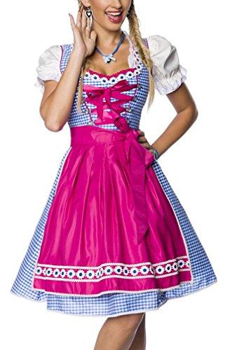 Onbekend Dirndl jurk kostuum met schort minidirndl met ruitmotief en uitgereikte rokdeel Oktoberfest Dirndl roze/blauw/wit roze