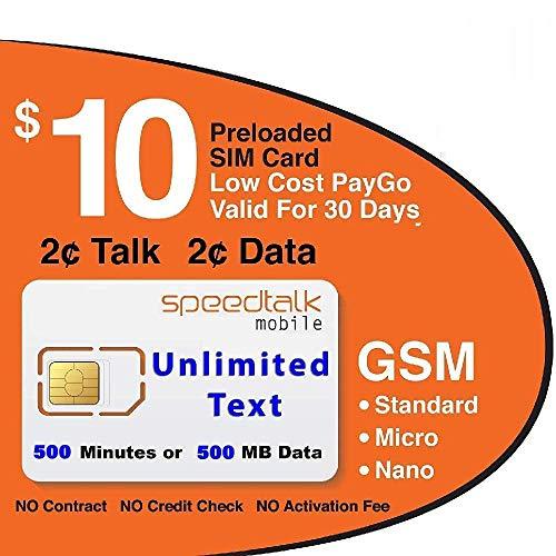 SpeedTalk Mobile $10 GSM SIM Card U…