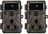 2-Pack No Glow Game & Deer Trail Cameras 20MP 1080P H.264 Video 100ft Night Vision Motion Activated 0.1S Trigger Speed Waterproof Security Cameras for Home and Outdoor Surveillance & Wildlife Hunting