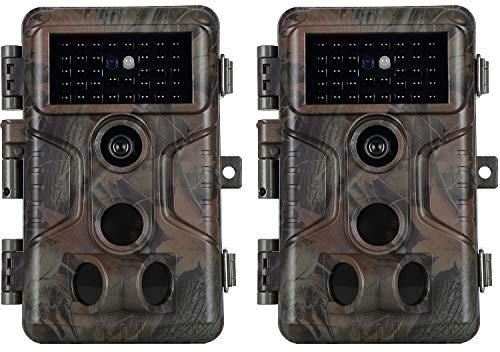 Agitato 2-Pack 20MP 1080P Cámaras de Vigilancia con Cámara de Vida Silvestre Cámaras de Caza sin Brillo H.264 Video 100 pies Visión Nocturna Movimiento Activado Impermeable 0.1S Velocidad de Disparo