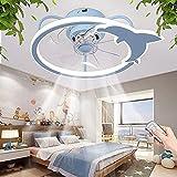 YUnZhonghe Ventilador de techo con iluminación ultra-silencioso Lámpara de techo Lámpara de techo Ventilador moderno Techo Luz de techo Velocidad de viento Dimmable y temperatura de color Dormitorio S