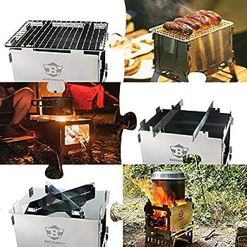Bestargot Four à bois portable pour camping, barbecue pliable et coupe-vent, en acier inoxydable avec sac de transport, multifonction 3 en 1, pour le camping, la randonnée, le pique-nique, le barbecue