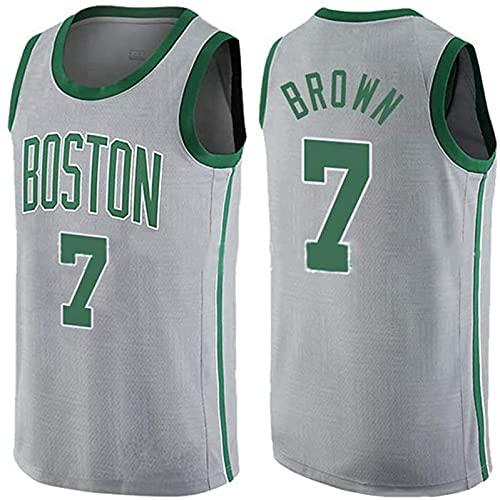 ASKI Versión De La Ciudad De Basketball De Baloncesto para Hombre Jersey Boston Celtic Equipo 7# Jaylen Brown Comfort/Ligero/Transpirable Bordado Malla Sudadera, 5, S, 4 - XXL