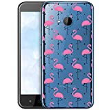 OOH!COLOR Schutzhülle Kompatibel mit HTC U11 Life Hülle Silikon Hülle Handy Tasche transparent Bumper mit Coolen Aufdruck Motiv Vögel rosa Flamingo (EINWEG)