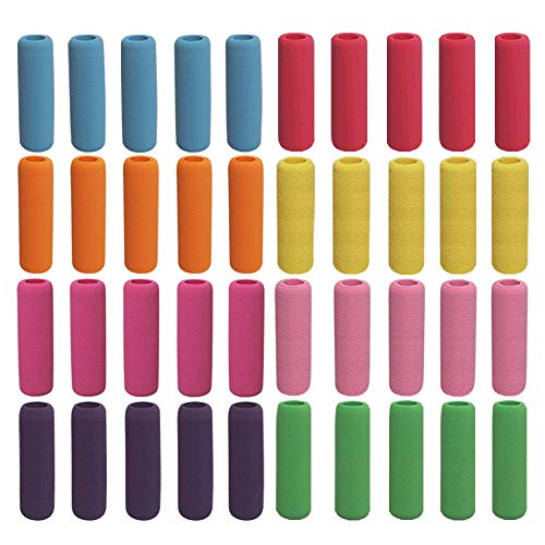 Soft Cushion Pencil Grips 40 Pcs Writing Drawing Aid Pen Holder for Kids, Students, Adults Random Assorted Color