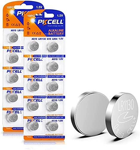 20Pcs / 2Card PKCELL 1.5V AG10 389 LR54 SR54 SR1130W 189 SB-BU L1130 1130 LR1130 Piles Bouton Pile alcaline à Pile Bouton