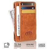 Otto Angelino Portafoglio sottile, in vera pelle e con raccoglitore tesse - spazio per carte di credito, debito, biglietti da visita, BLOCCO DI RFID - Unisex