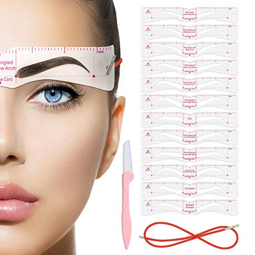 Eyebrow Stencil,Eyebrow Shaper Kit,21 Styles Extremely Elaborate Reusable Eyebrow Template Stencils for A Range Of Face Shapes, 3 Minutes Makeup Tools For Eyebrows