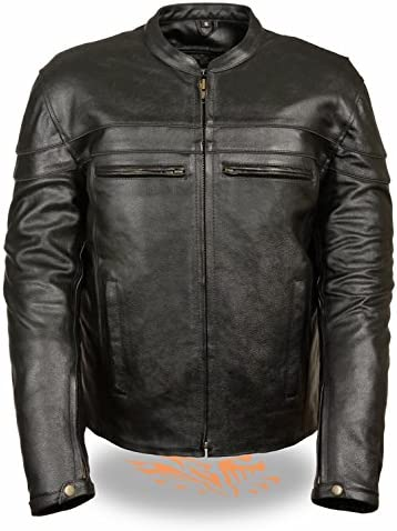 Men's Event Leather Crossover All items free shipping Scooter Atlanta Mall Jacket Pipin w Reflective