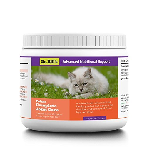 Dr. Bill's Feline Complete Joint Care | Pet Supplement | Joint Protection | Arthritis Support for Cats | Includes MSM, Turmeric, Green Lipped Muscle Extract, & Collagen Type I, II, V, & X | 85 Grams