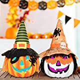 Rocinha Halloween Lighted Pumpkin Lantern, Set of 2 Color Changing Jack-O-Lantern Decorative Pumpkin Foam - Indoor Halloween Decorations for Home, Haunted House, Party, Photo Props