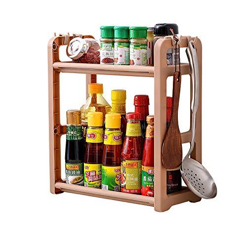 Qisiewell Estante de Especias Marrón Práctico Estante de Especias para Armarios de Cocina y Espacio de Trabajo para ordenar en la Cocina Extensible de plástico PP en 2 Niveles