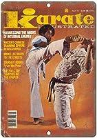 1977空手イラスト格闘技雑誌バー、研究、リビングルーム、ダイニングルーム、ベッドルーム、カフェのレトロな錫金属看板