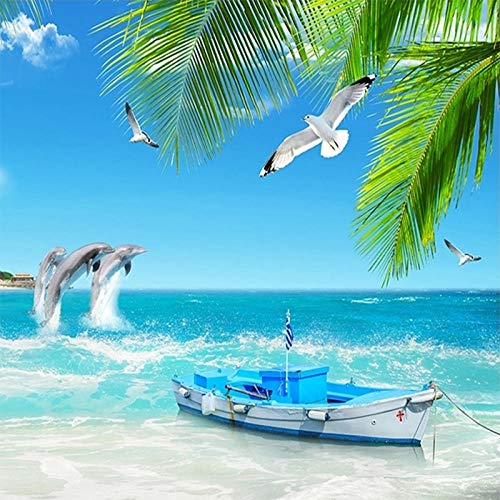 Fototapete 3D Wandbild Tapete 3D Romantische Dolphin Bay Seestück Schlafzimmer Tv Hintergrund Home Decor Moderne Tapete 250cmx175cm