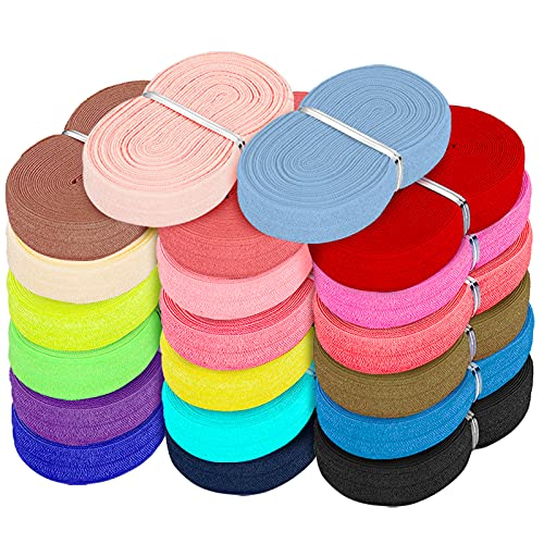 Fold Over Elastic Stretch Foldover FOE Elastics Solid Color Elastic Trim Sewing Ribbon for DIY Hair Ties Headbands Hair Bows, 20 Colors (100 Yards)