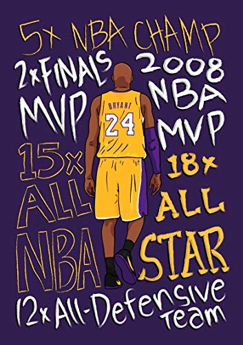 UIOLK Resumen Colorido conmemorativo Kobe Retrato Baloncesto Superestrella para Siempre Negro Mamba decoración Cartel Sala de Estar Entrada decoración del hogar