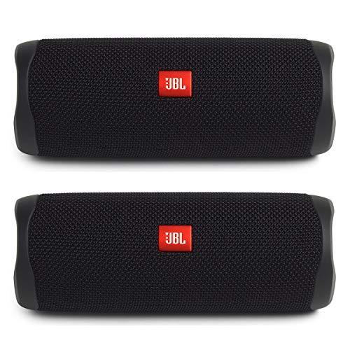 JBL Flip 5 Portable Waterproof Bluetooth Speakers - Pair (Black)