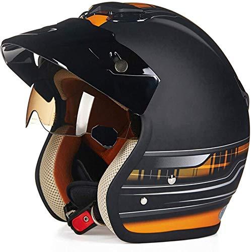 ZHXH Motorradhelm Harley, Retro Erwachsene Männer und Frauen Evergreen Street Bike 3/4 Open Face Helm Eingebaute Linse/Punkt Zertifizierung,