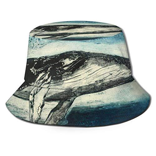 Sombrero de Cubo Transpirable Superior Plano Unisex Ballena jorobada Pintura de Arte Sombrero de Cubo Sombrero de Pescador de Verano