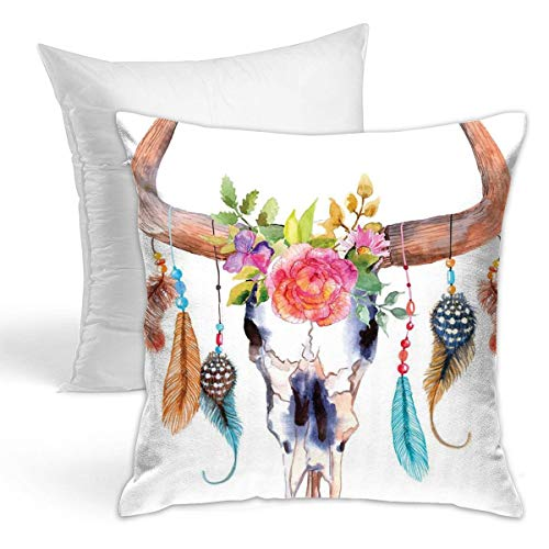 SAIKOUNOYA Throw Pillow (Including Pillow Core) Ox Head Bone Ornament and Safflower Square Hold Pillow Cover & Core for Sofa Home Decor 18x18inch